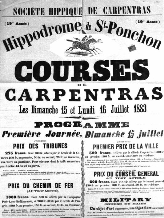 Affiche des courses hippiques de Carpentras. 1887