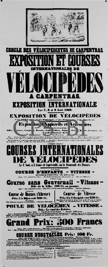 affiche annonçant la course cycliste d'Aout 1869